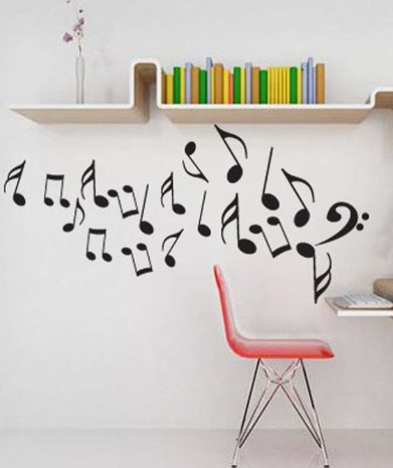 Notas musicales vinilo adhesivo decoraci n de paredes for Vinilos decorativos adhesivos pared