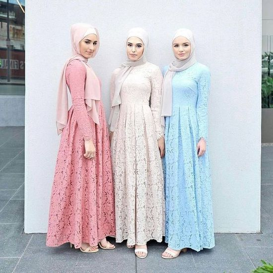 30 Model Gamis Batik Kombinasi Polos Blazer Sifon Brokat Dan