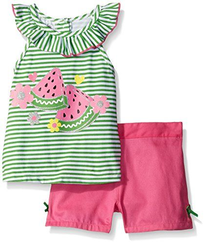 Kids Headquarters Girls' Green Printed Jersey Top and Pink Twill Shorts, 5. Jersey top. Shorts.