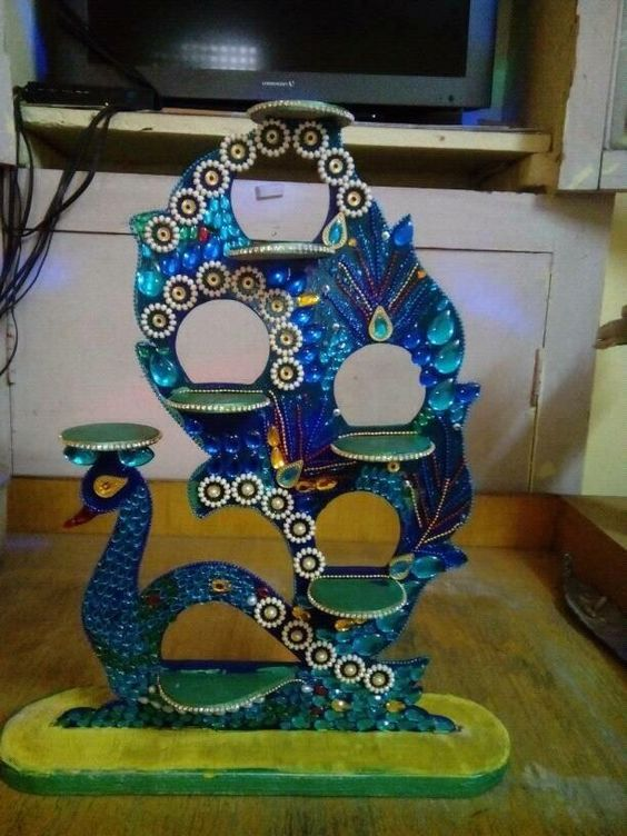 Peacocks and diy and crafts on pinterest for Diwali decoration material