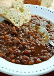 Easy Baked Beans: In a Slow Cooker combine 2-16 oz cans of baked beans & 1/4 cup of brown sugar & 1 tbsp of mustard & 1/2 cup of ketchup & 2 small chopped onions & 1 tsp of Worcestershire sauce & 6 slices of cooked chopped bacon. Season & cook on low 5 hours.