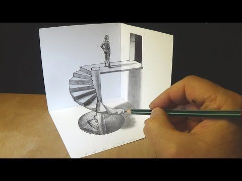 Drawing Spiral Stairs How To Draw 3d Caracole Anamorphic