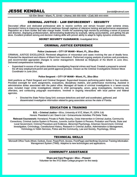Criminal justice resume uses Summary section of the qualifications - resume skills summary