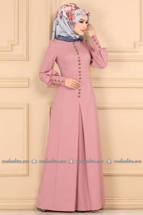 Modaselvim Elbise Aksesuar Dugmeli Pileli Elbise Asm2151 Pudra Muslimah Fashion Outfits Hijab Fashionista Muslimah Dress