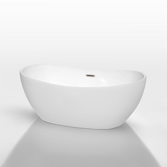 Wyndham Rebecca 60 Inch Freestanding White Soaking Tub With