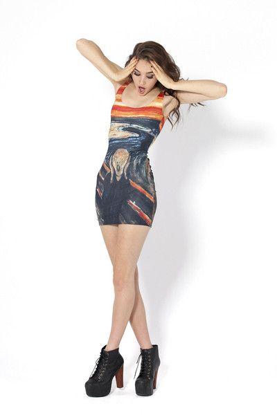 """Stretchkleid der australischen Modemarke #BlackMilkClothing inspiriert von #Munchs Gemälde """"Der Schrei"""" #artfashion"""