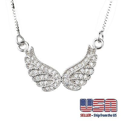 """925 Sterling Silver Angel Wing Cubic Zircon Pendant Necklace 16""""+2""""  Sale!!"""