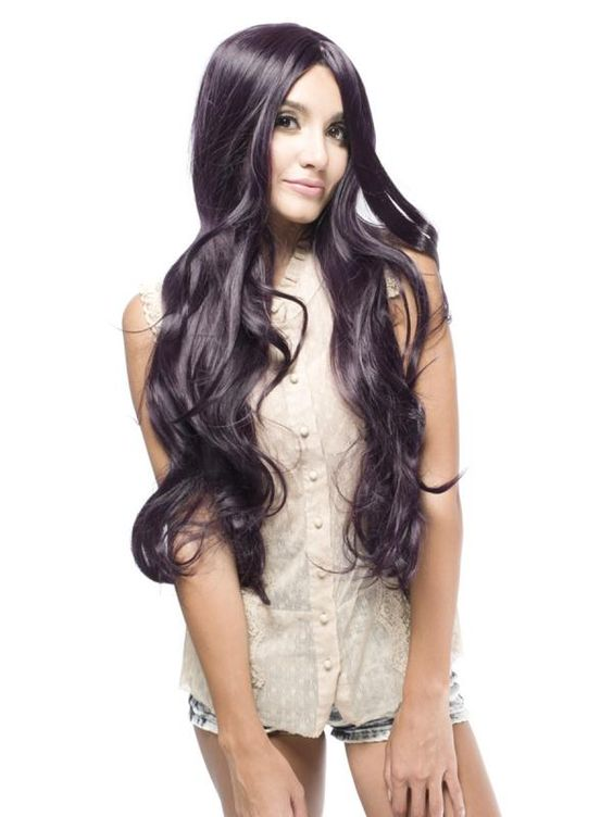 Long Synthetic Wavy Dark Purple Costume Wig$59.99