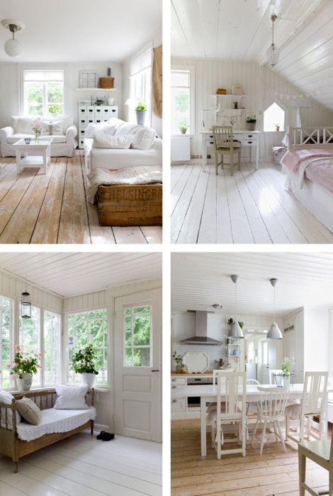 Wide planked wood floors.