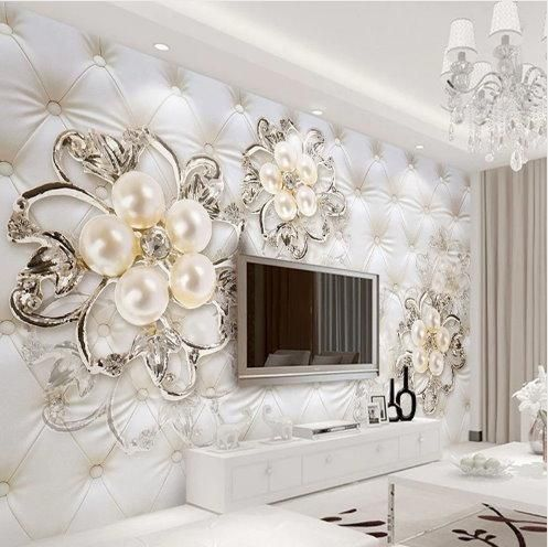 3d White Faux Leather Silver Diamonds And Pearls Floral Wallpaper Wallpaper Living Room 3d Wallpaper Home Room Wallpaper