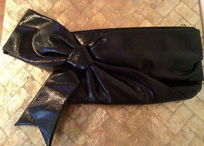 Ladies NEW Solid Black Bow Stylish Clutch Purse $4.99