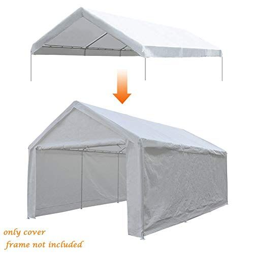Abba Patio 12 X 20 Feet Carport Replacement Top Canopy Cover For Garage Shelter With Ball Bungees White Frame Not Included In 2020 Canopy Cover Carport Tent Canopy