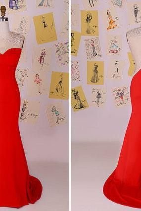 Sexy Red Beading Mermaid Long Prom Dress/See Through Back Mermaid Evening…