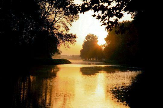 Sunrise at Portiragnes, on the Canal du Midi.