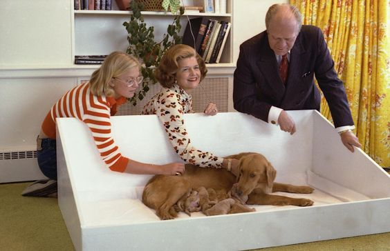Susan, Mrs. Ford, and President Gerald Ford with Liberty and puppies. September 16, 1975