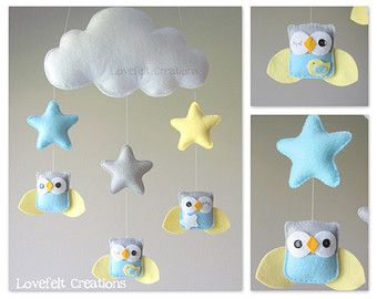 Baby mobile Heart mobile cloud mobile от lovefeltmobiles на Etsy