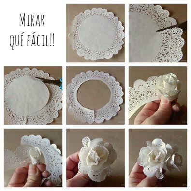 Idee für Papierblumen aus Keffedeckchen / Doily