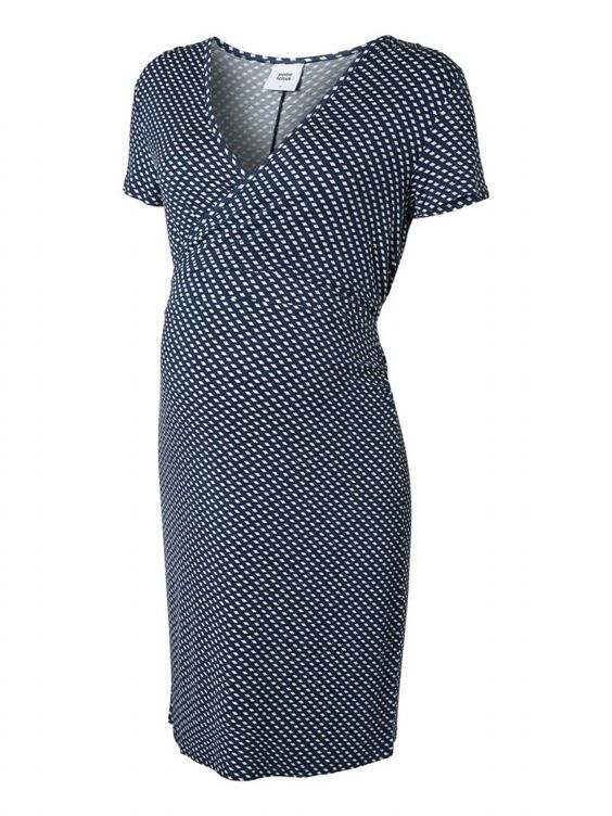 Faux Maternity Wrap Dress in a subtle blue and white print this is a great addition to your maternity clothes for the summer months and will work