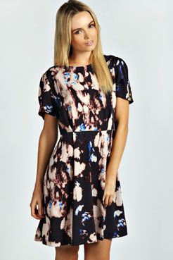 Nora Smudge Print Woven Skater Dress
