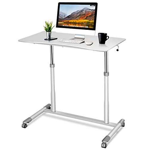 Tangkula Standing Desk Computer Desk Height Adjustable Desk Sit Stand Desk With 4 Mova Adjustable Computer Desk Adjustable Height Desk Computer Stand For Desk