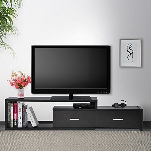 Extendable Tv Stand Cabinet Wood Tv Unit With 2 Drawers Black