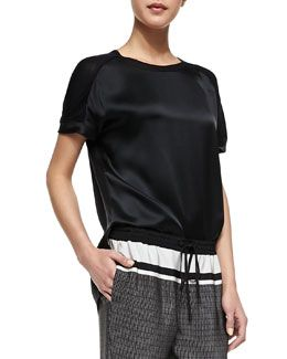 Vince Satin/Jersey Relaxed Tee