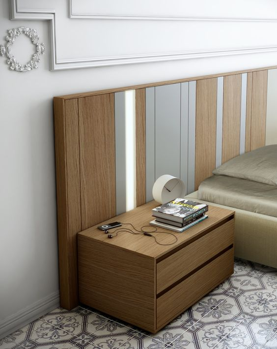 WOODEN NIGHTSTAND WITH DRAWERS Simple And Functional