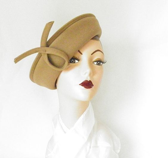 vintage 1960s  hat  pamela style felt brimmed by TheVintageHatShop, $35.00