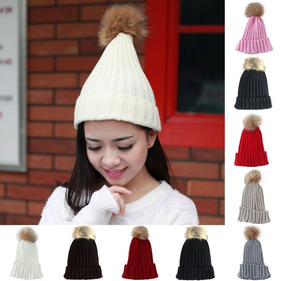 Yw Winter Pom Beanie Tone Color Plain Winter Skull Hat Ski Knit Warm Cuff Cap Aa
