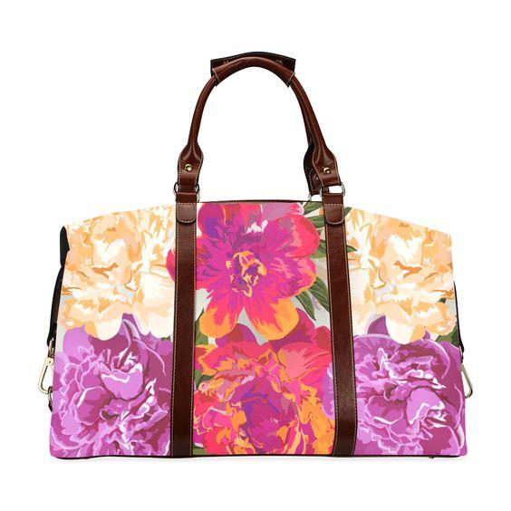 Pink Orange Beautiful Watercolor Floral Classic Travel Bag (Model 1643)