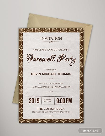 Farewell Invitation Template Free Jpg Word Psd Publisher Template Net Invitation Template Farewell Invitation Card Farewell Party Invitations