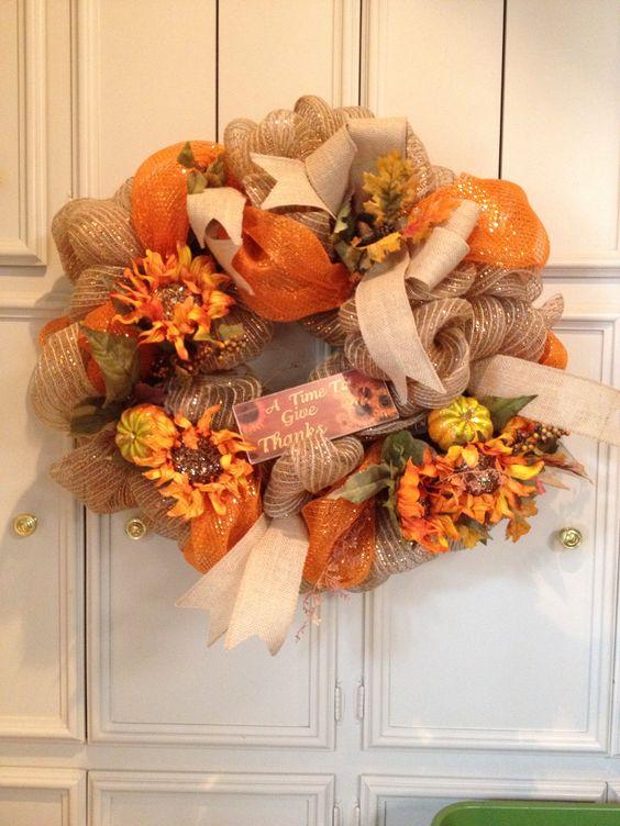 Sunflower wreath for fall