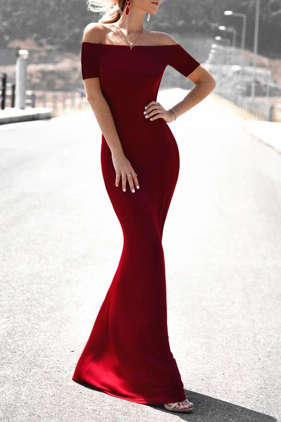 $18.40 Chic Off-The-Shoulder 3/4 Sleeve Pure Color Maxi Dress