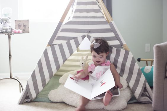 Children's Teepee, reading nook, playroom, little girls room, gray and white, home decor