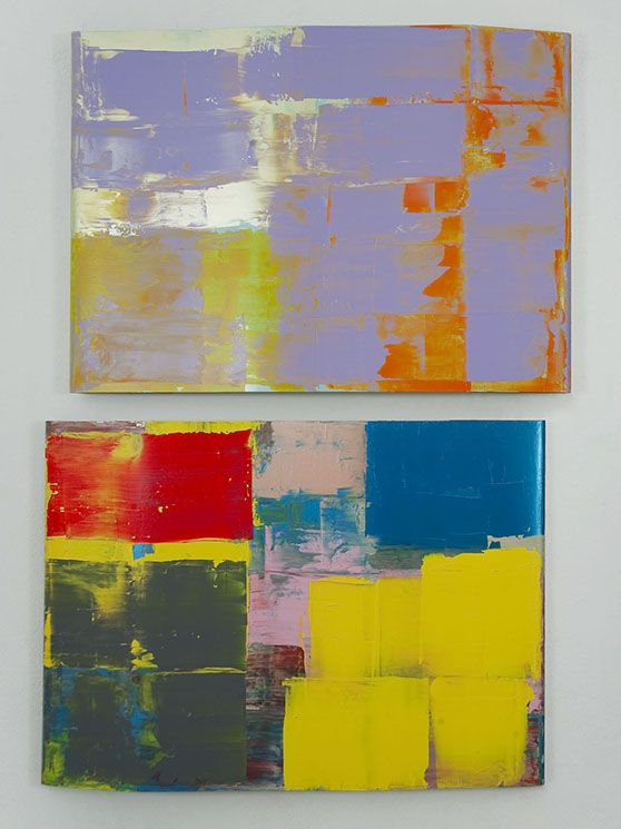 Pedro Calapez, bunker aaa, 2012 set of 2 acrylic painted aluminum panels. 147 x 210 x 8 cm