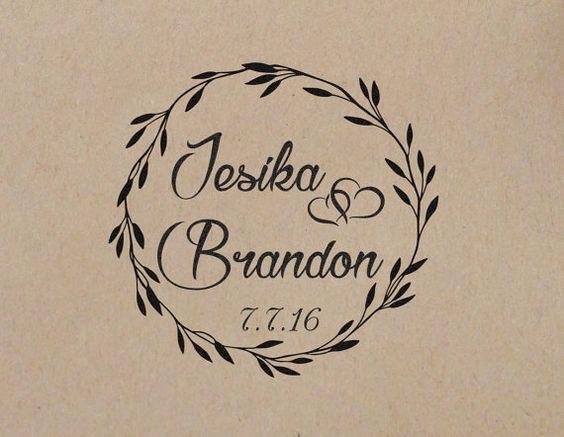 Bruiloft stempel krans eerste persoonlijke bruiloft stempel bruiloft Rubberstempel gemonteerd met houten handvat