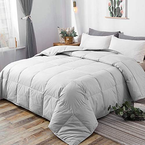 Downcool 100 Cotton Quilted Down Comforter With Corner Tabs Goose Duck Down Feather Filling Lightweight And Medium Down Comforter Comforters Duvet Insert