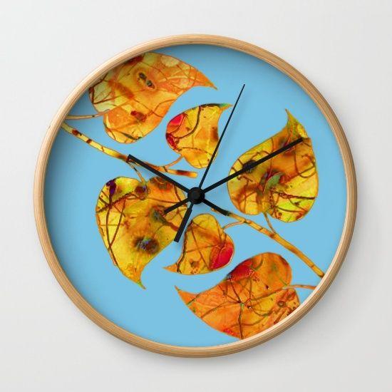 blue automn Wall Clock