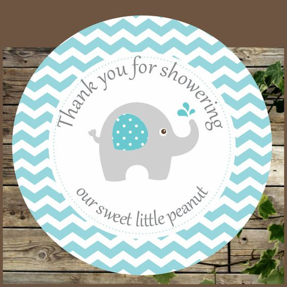 Elephant favor tags blue elephant baby shower printable for Baby shower decoration free
