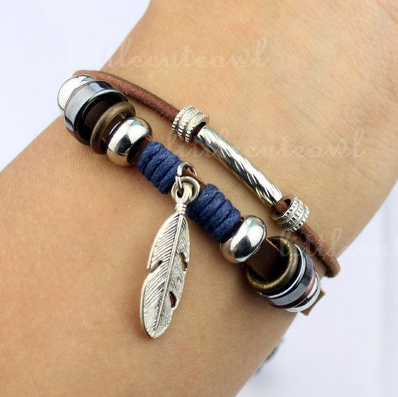 Jewelry Bangle women Leather Bracelet Girl Ropes by littlecuteowl, $4.99