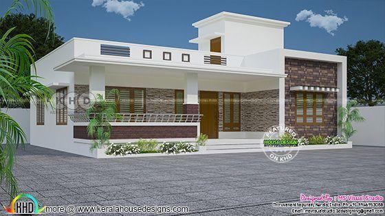3 Bedroom Flat Roof Modern One Floor Kerala Home In 2020 Village House Design Kerala Houses Modern House Design