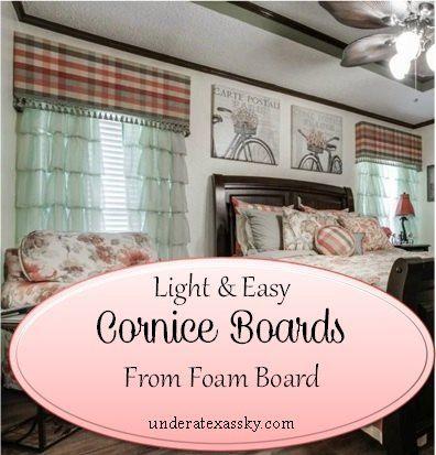 Easy and light cornice boards from foam board window for Bedroom cornice design