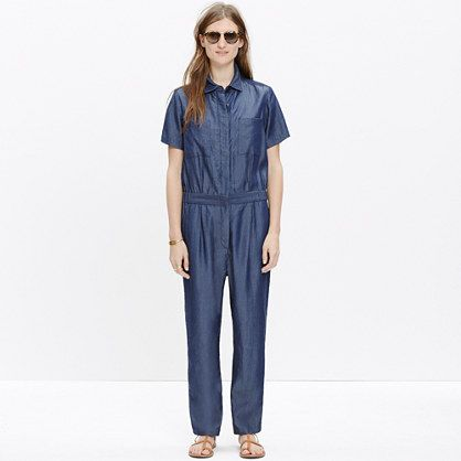 "We only need three letters to accurately describe NYC-based Whit: f-u-n (and lots of it). Designer Whitney Pozgay creates the sort of clothes that are both eye-catching and easy to wear. Take this jumpsuit, for example: The streamlined one-piece is made of supersoft fabric with a cool sheen.  <ul><li>True to size.</li><li>Front rise: 11 1/2"".</li><li>Inseam: 25 1/2"".</li><li>Leg opening for size 4: 7 3/4"".</li><li>Dry clean.</li><li>Made in the USA.</li><li>Madewell.com only.</li></ul>:"