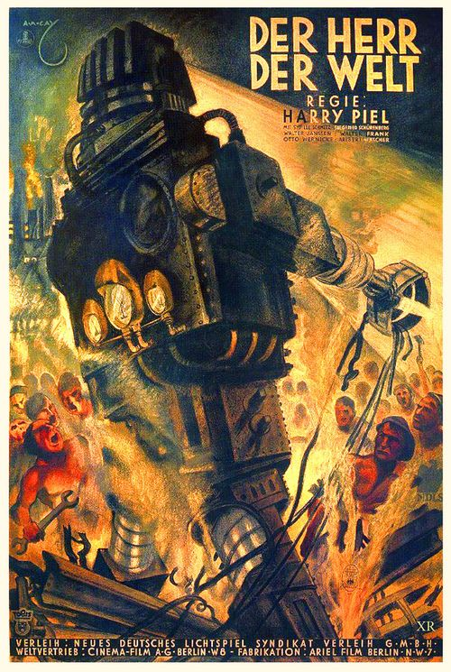 error888:  1934 … Master of the World (by x-ray delta one).  The Master of the World (German: Der Herr der Welt) is a German science fiction movie made in 1934 (released in the US in 1935). Its themes are the replacement of human labor with robotic replacements, and the threat to humanity by robots used as war machines.