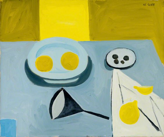 William Scott, Lemons and a Funnel, 1949, Oil on canvas, 47 × 56 cm / 18½ × 22 in, Private collection
