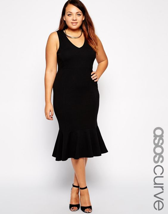 ASOS CURVE | Midi Bodycon Dress With Deep Plunge And Pephem