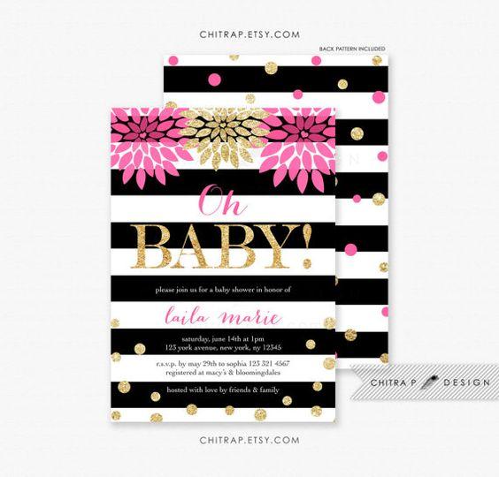 invitations printed black white baby shower invitations baby showers