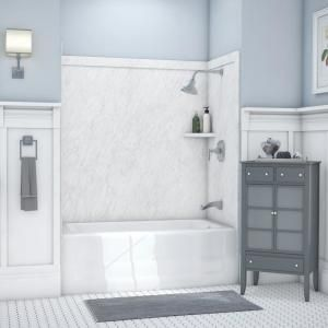 Flexstone Elite 32 In X 60 In X 60 In 9 Piece Easy Up Adhesive Tub Surround In Calacatta White Tsk60326031cw Tub Surround Bathtub Walls Shower Wall