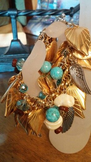 Old Hollywood  Glam. Vintage puffy hearts d/s turquoise rounds, vintage mother of pearl nuggets and crystals