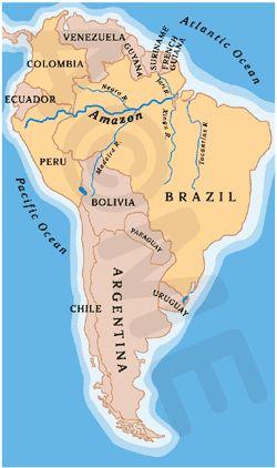 Amazon River map South America  Rivers  Pinterest  Amazon